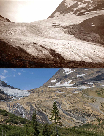 Photo comparison of same view in historic photo of ice field and modern photo showing rocky basin devoid of ice