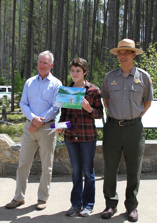 2015 Art Contest Winner with Glacier National Park Superintendent Jeff Mow and Glacier Conservancy CEO Mark Preiss