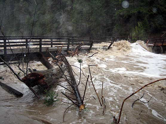 Flooding at the horse bridge on McDonald Creek