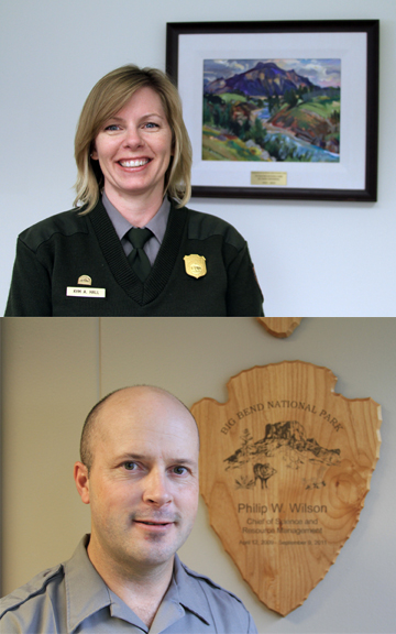 Deputy Superintendent Kym Hall and Chief of Science and Resources Management Phil Wilson