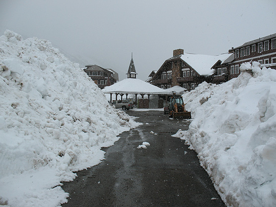 Picture of Many Glacier Hotel with a lot of snow