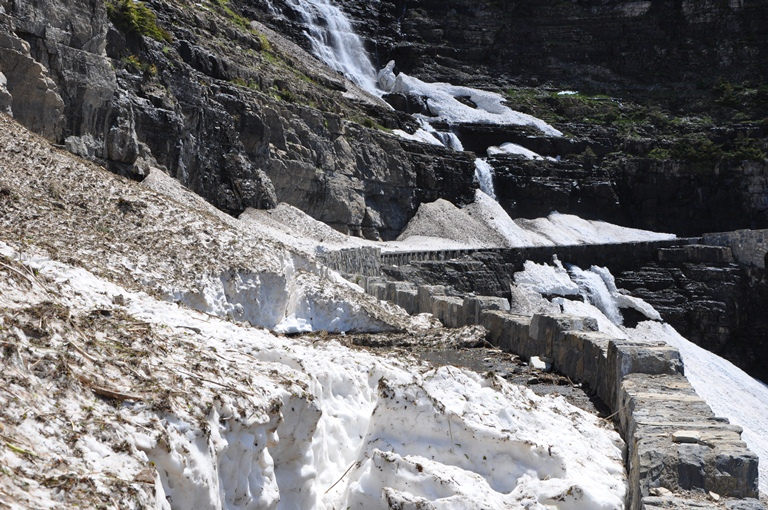 Avalanche debris near Triple Arches on the Going-to-the-Sun Road, 6-22-2014