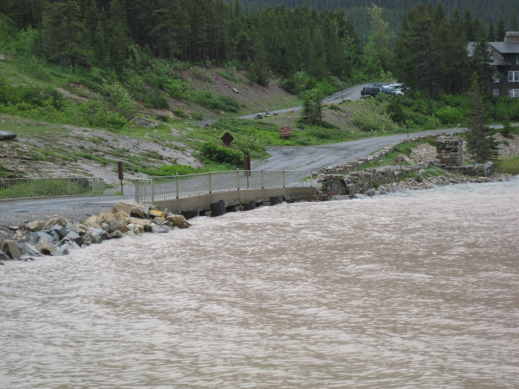 Rising water at Swiftcurrent Bridge at Many Glacier on Wednesday, June 19 2013