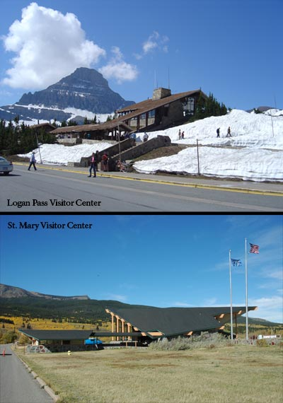 Logan Pass and St. Mary Visitor Centers