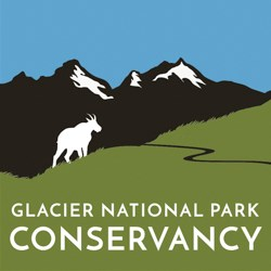 A logo image for the Glacier National Park Conservancy that shows a simple landscape with a mountain goat.