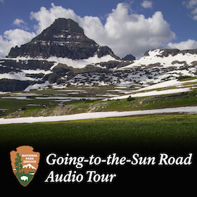 image of snowy mountain and meadow with Audio Tour graphic at bottom