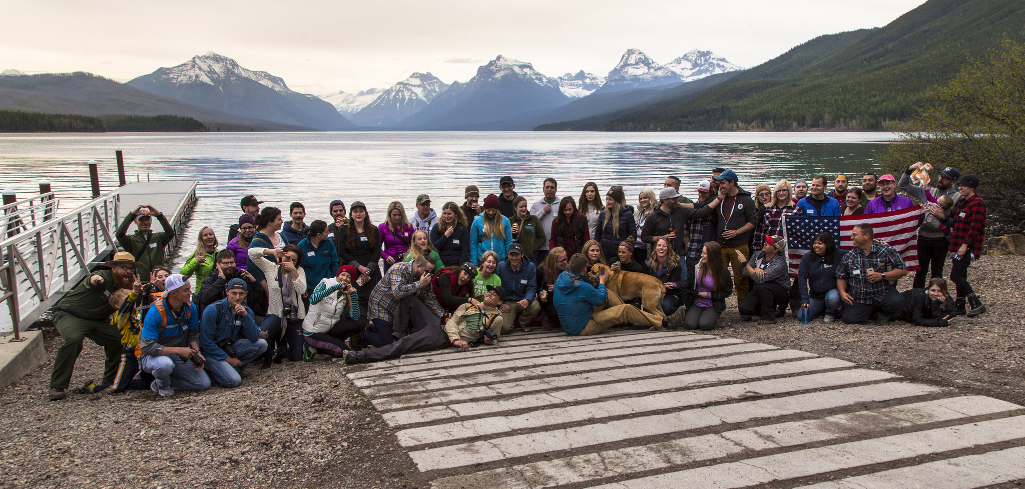 Group photo at the Apgar public boat dock