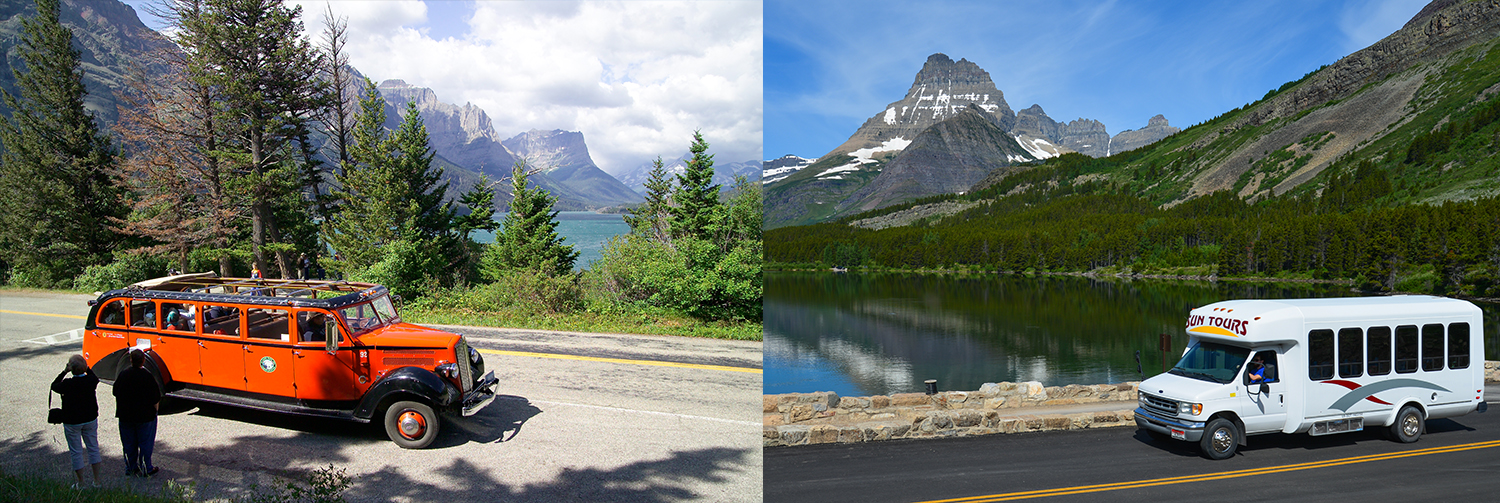 Red Bus Tours and Sun Tours offer interpretive tours in Glacier
