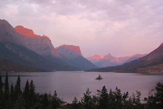 Picture of St. Mary Lake at sunrise