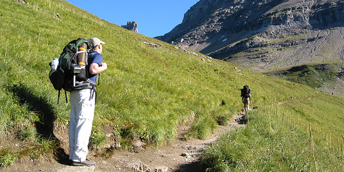 Two backpackers on trail