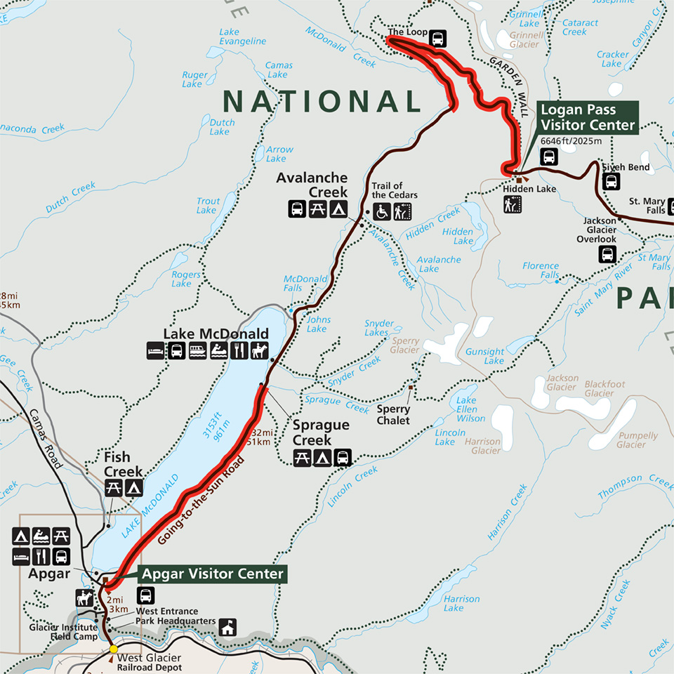 graphic about Printable Map of Glacier National Park named Bicycling - Glacier Nationwide Park (U.S. Countrywide Park Provider)