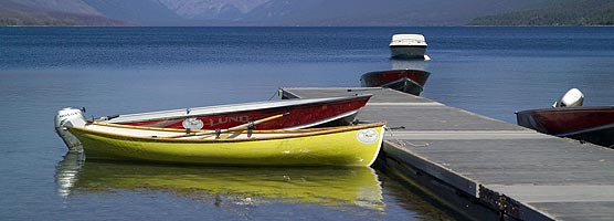 Boats at the Lake McDonald dock