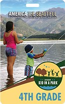 Photo of 4th grade pass, two young children fishing in a mountain lake