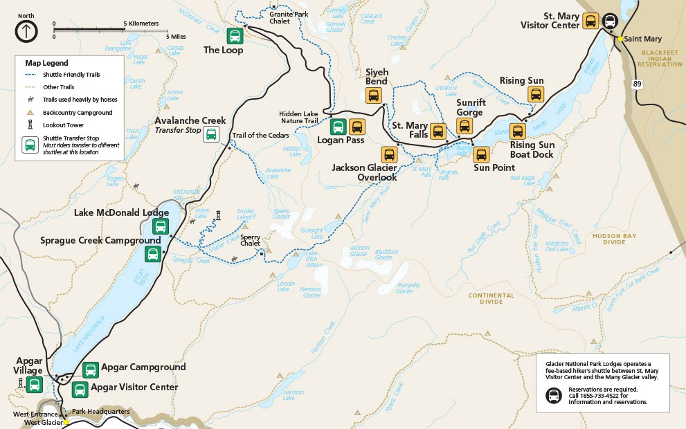 Map of the 2018 shuttle stops in Glacier National Park
