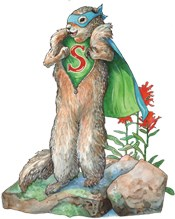 artwork of Super Squirrel unzipping his fur and revealing his superhero costume