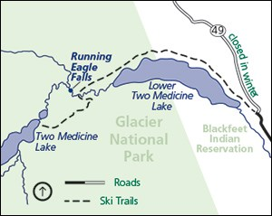 Ski trails in the Two Medicine Valley