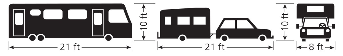 diagram illsutrating vehicle size limits