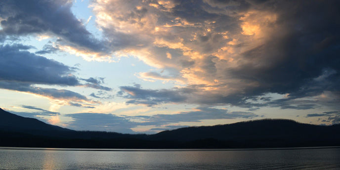 dramatic sunset with clouds over Lake McDonald