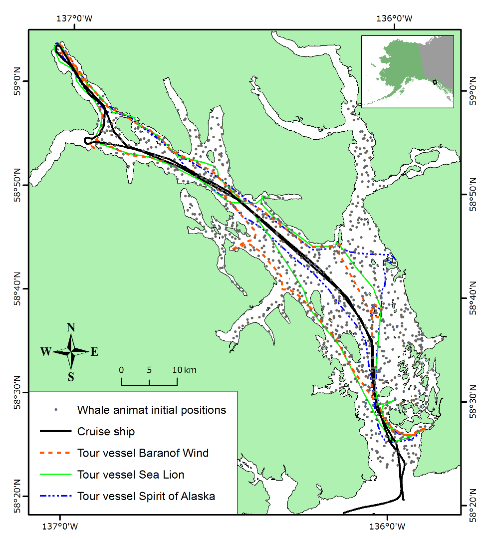 AIM map of Glacier Bay whales and vessel tracks