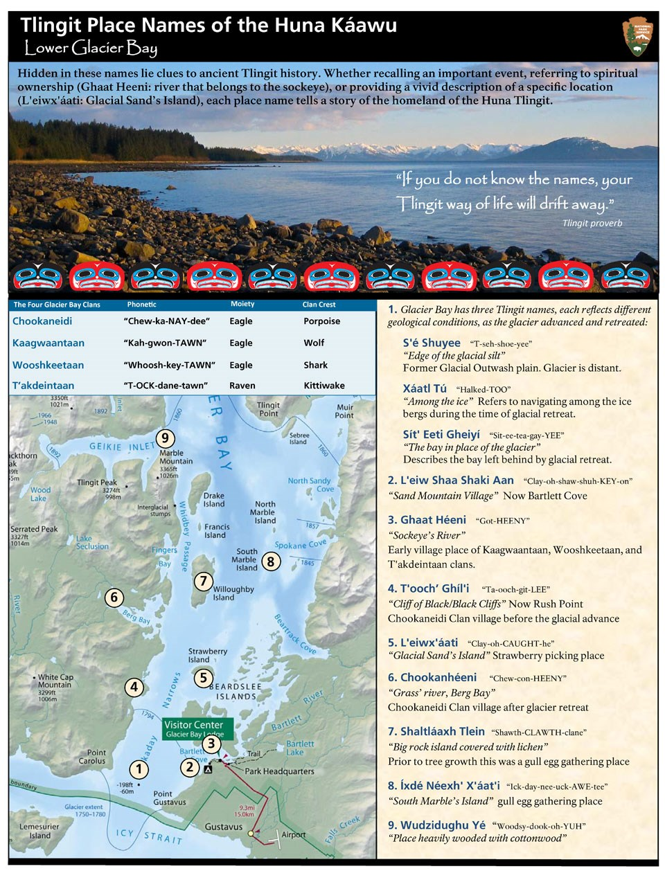 Huna Alaska Map.Tlingit Place Names Of The Huna Kaawu Glacier Bay National Park
