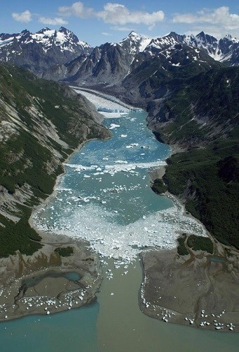 An aerial view of a glacial moraine