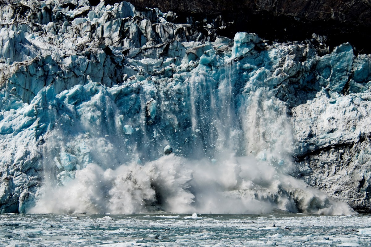 Ice falling from the face of Margerie Glacier
