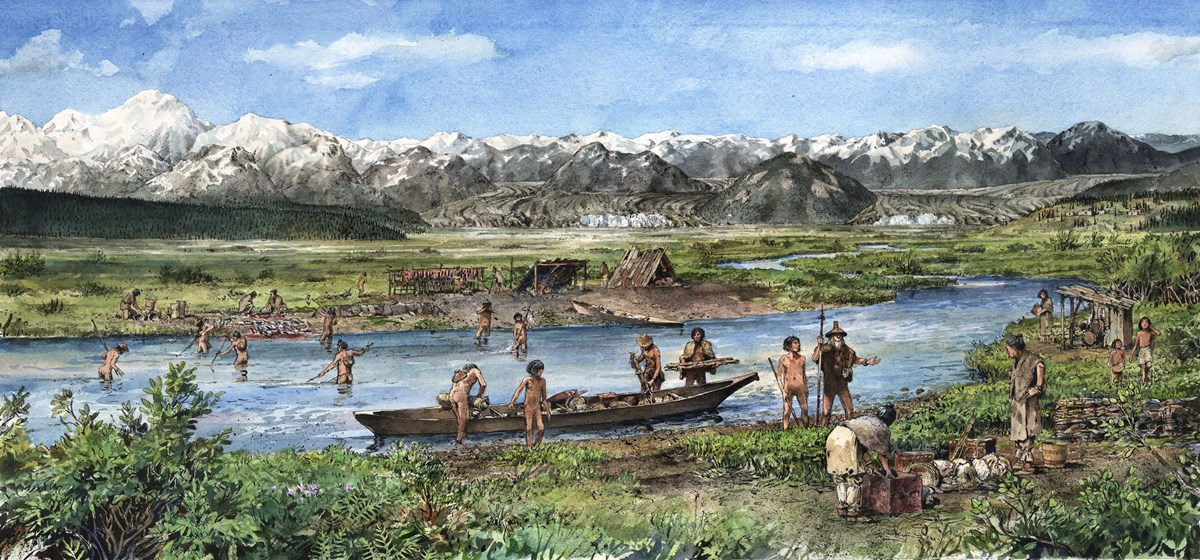 Drawing of a Tlingit Village