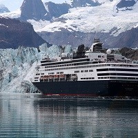 cruise ship at near a glacier