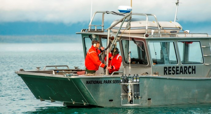 Researchers working on vessel in Glacier Bay