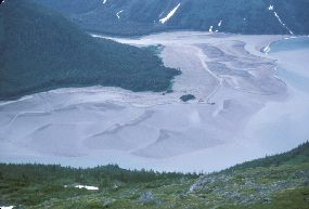 glacial sediments fill valley bottoms and fjords