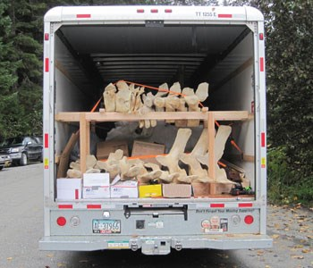 Snow's bones ready for transport