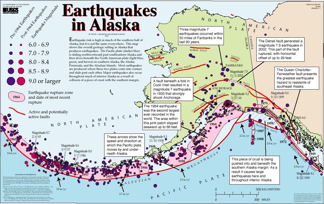 Alaska Map Volcano.Geology Glacier Bay National Park Preserve U S National Park