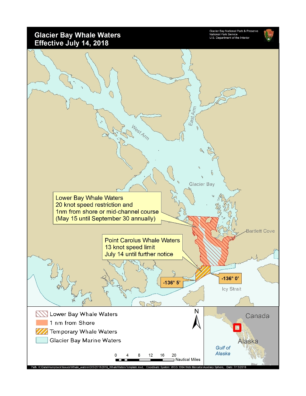 map depicting a 13 knot speed restriction around Point Carolus in Glacier Bay NP, map of whale waters for July 14 2018