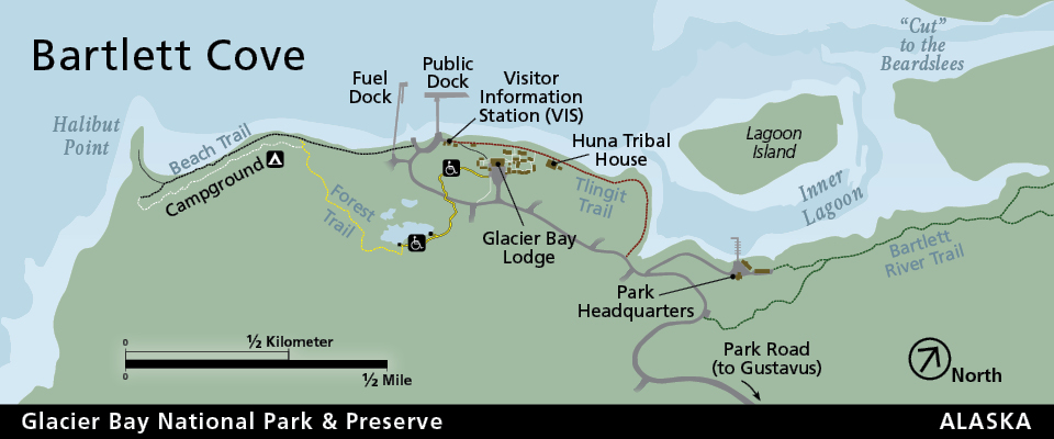 Bartlett Cove map showing trails and roads and facilities
