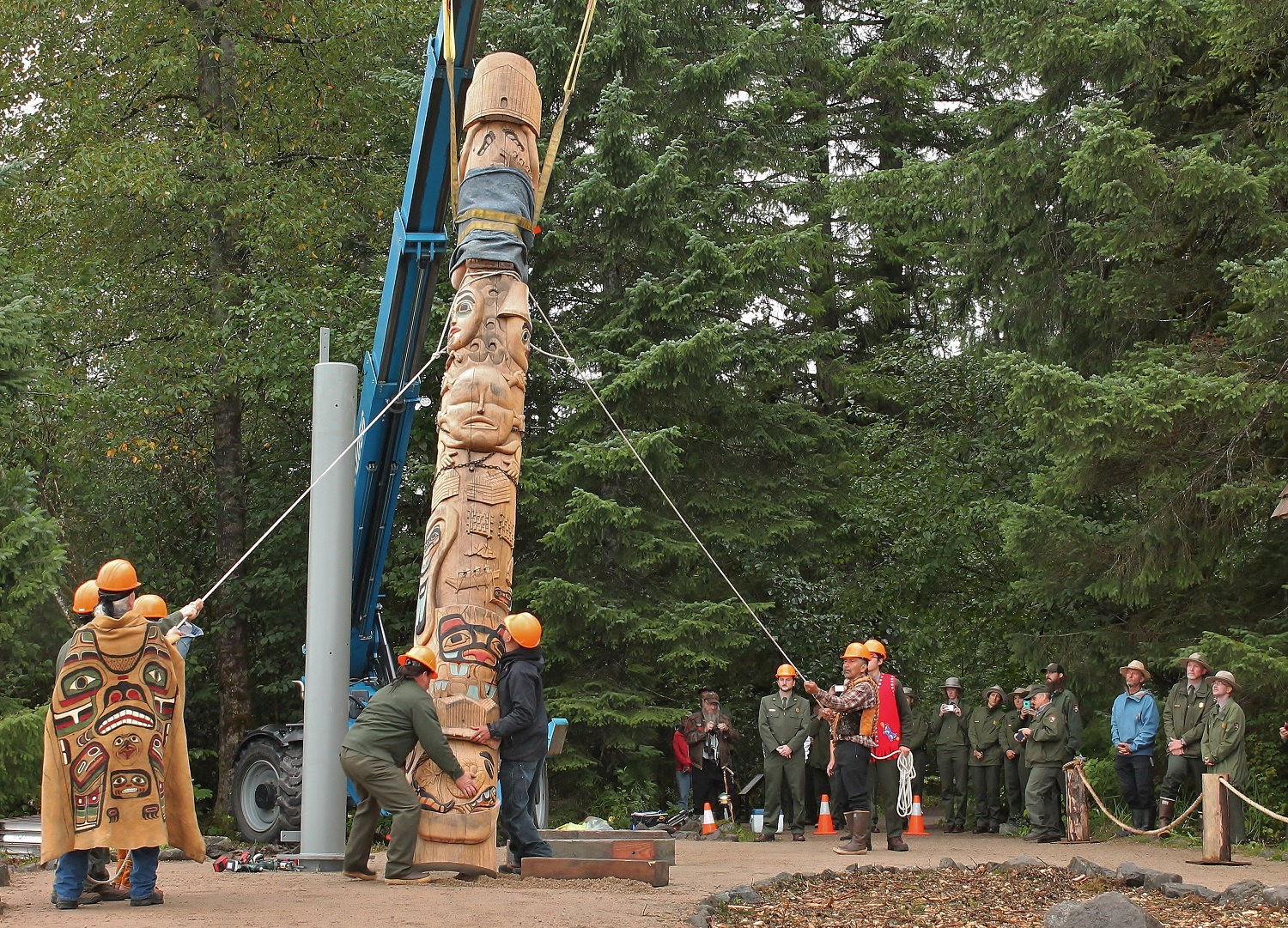 Healing Totem being raised by a crew