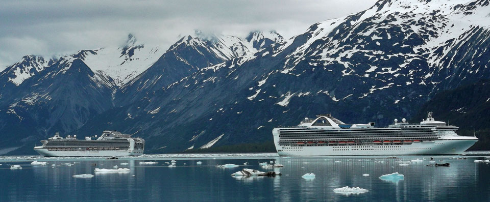 Two cruise ships in Glacier Bay