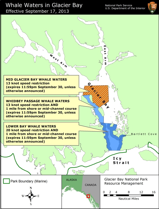 Map showing whale waters update for Glacier Bay effective September 17, 2013