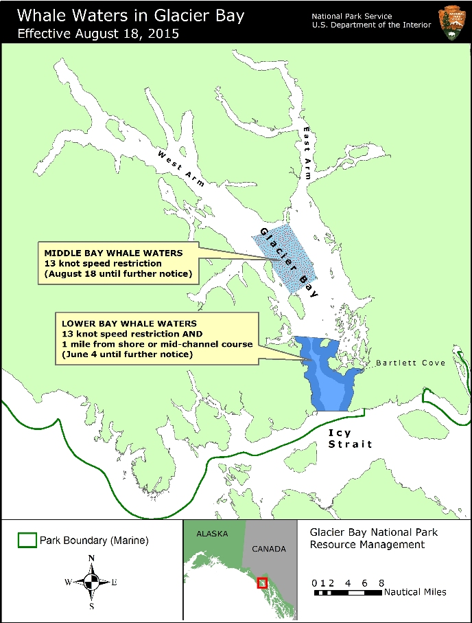 Map of Whale Waters Update For Glacier Bay Effective August 18, 2015
