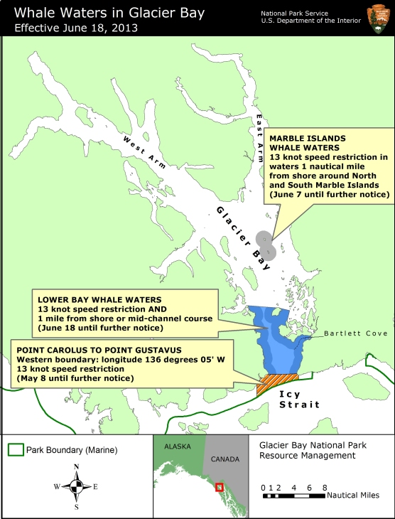 Map showing whale waters update for Glacier Bay effective June 18, 2013