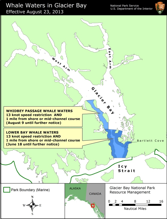 Map showing whale waters update effective August 23, 2013