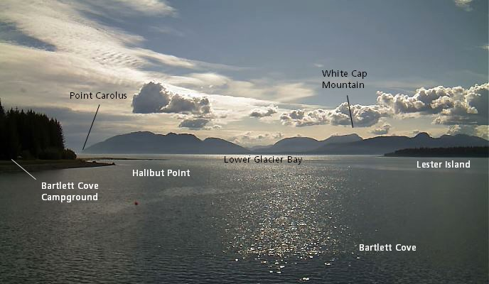 View of Lower Glacier Bay with points of interest identified.