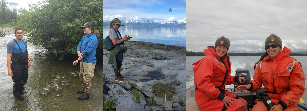 A 3 photo collage. The left photo: 2 scientists stand in shallow water, several small research traps in the water between them. Middle photo: A researcher takes notes standing on a rock beside the water. Final photo: Two boaters wear bright orange jackets