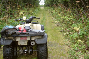 An ATV will allow for extensive exploration in Dry Bay, Alaska.
