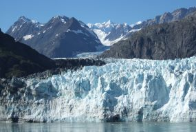 The Margerie Glacier flows down twenty-one miles from its source.