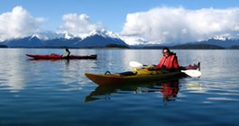 two kayakers in Glacier Bay