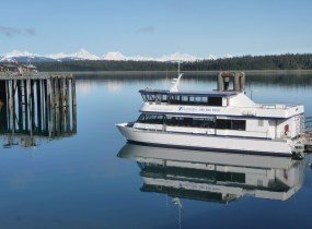 Tour Vessel waits at Bartlett Cove Dock to take visitors to the glaciers.