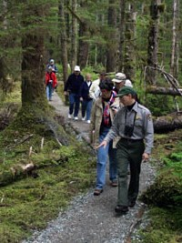 ranger led walk through forest