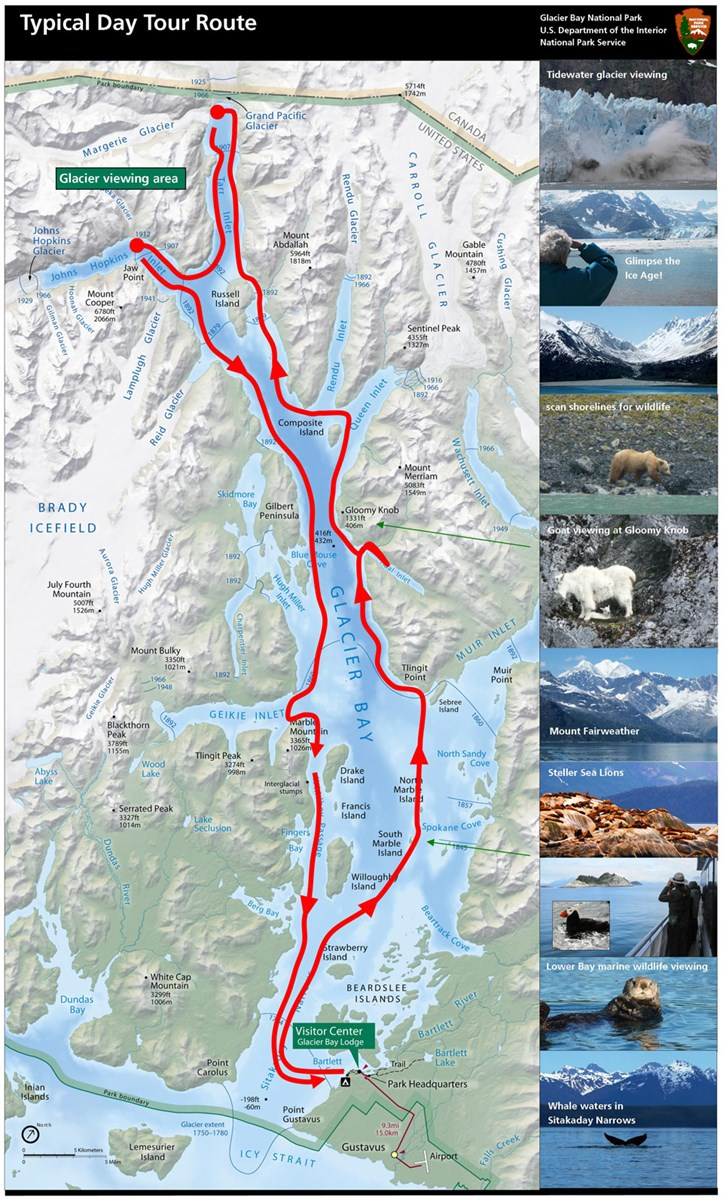 Map indicating the typical route taken by the Glacier Bay Day Tour Boat.