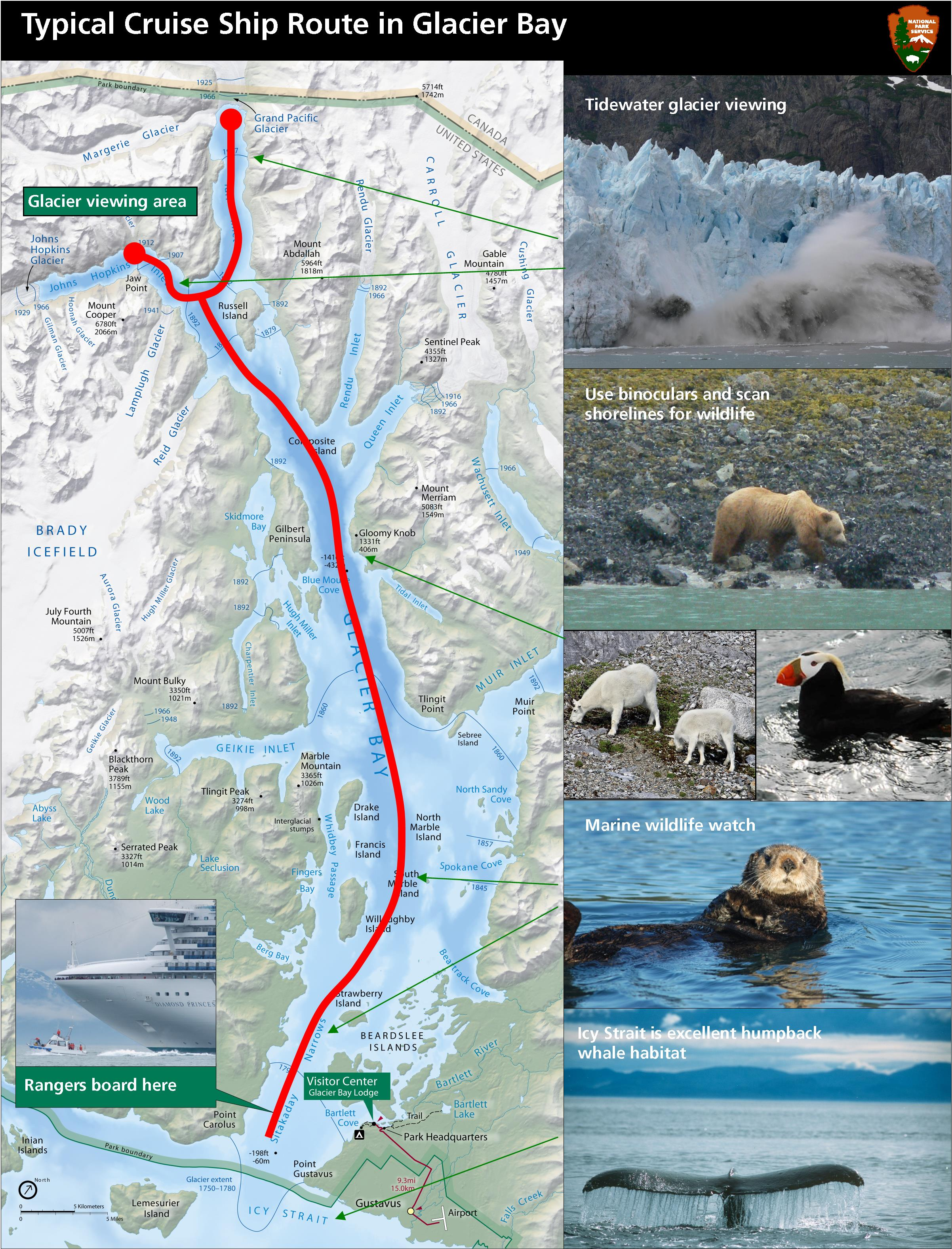 Typical Cruise Ship Route In Glacier Bay Glacier Bay National - Map of alaska cruise ship routes