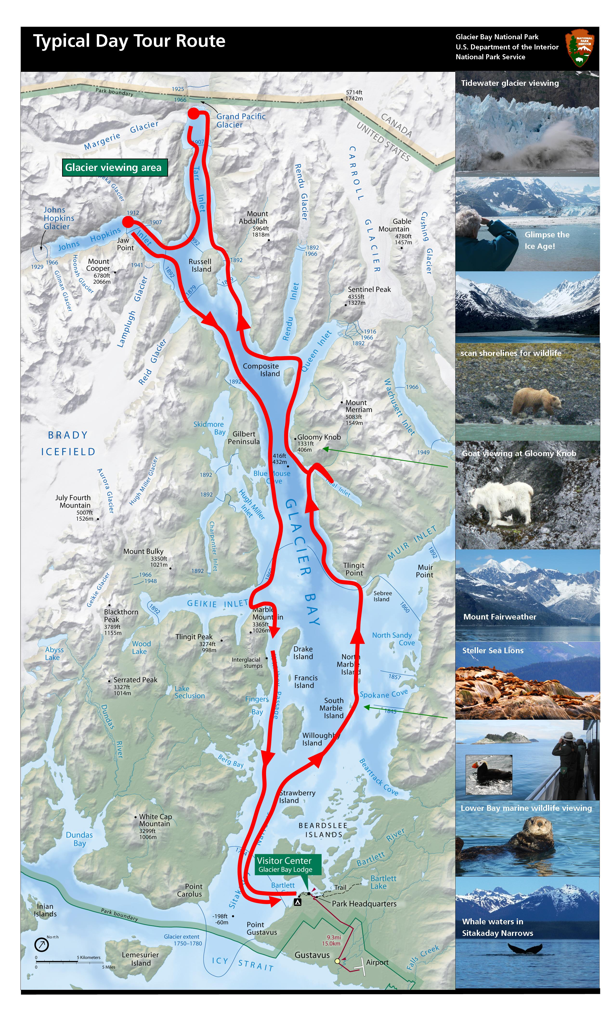 Typical tour boat route in Glacier Bay